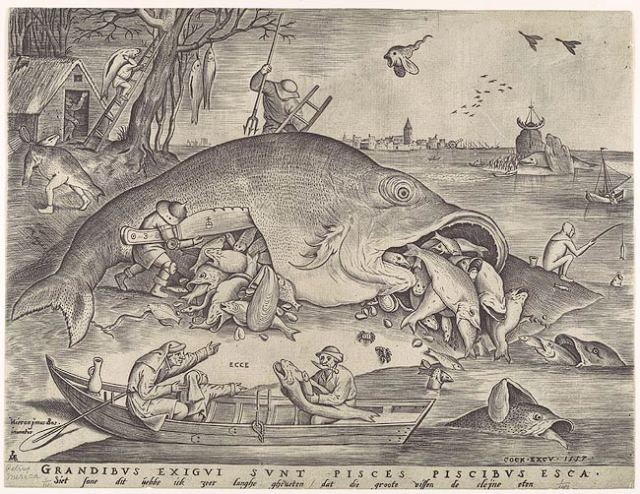 Pieter van der Heyden (engraver), Cock (pub.), after Bruegel, Big Fish Eat the Little Ones, 1557