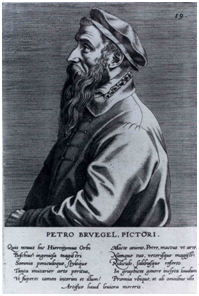 Johannes Wiericx (attr. to) and Volcxken Dierckx (pub.), Petro Brvegel, Pictori, engraving from  Domenicus Lampsonius,  Pictorum aliquot celebrium Germaniae inferioris effigies, 1572
