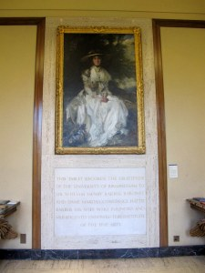 Lady Barber's portrait settled in the foyer to remind us of the purpose of her gift