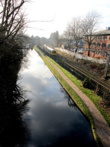 The peaceful river parallel to the train tracks in Birmingham