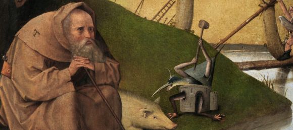 Bosch (?), St Anthony (detail); Prado Museum
