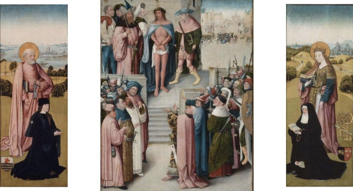 Workshop of Bosch, Ecce Homo triptych with donors; c.1500, Boston.